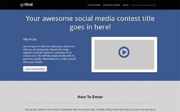 goviral social media contest page selling for 10 00