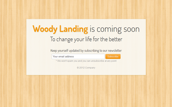 Responsive Woody Landing Free Download