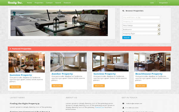 RealtyInc. Real Estate Template Free Download