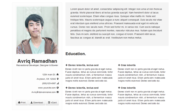bootstrap resume cv s templates buy the best bootstrap themes for