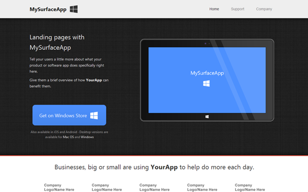 MySurfaceApp – Landing Page Free Download