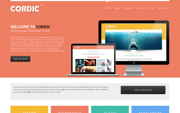 CORDIC - Multipurpose Bootstrap Theme selling for $12.00