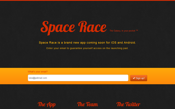 Space Race – Landing Page Free Download