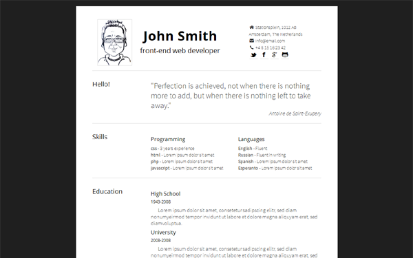 Simply - Minimal, Responsive Resume selling for $10.00