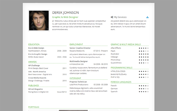 derek responsive one page resume selling for 8 00