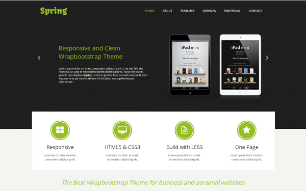 spring one page responsive template selling for 15 00
