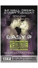 EASY TUESDAYS AT THE EDGE - gay - San Francisco Gay Events, Gay & Lesbian Bars in SF | Wsup Now