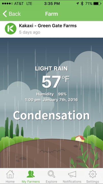 Kakaxi mobile app - Condensation/weather view