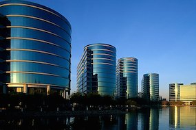 Oracle Headquarters late afternoon. Redwood City, SF Bay area, California, USA