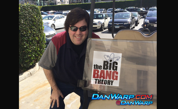 Dan Schneider with The Big Bang Theory golf cart