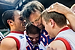 From left, Jose Palomino, Fo Makoessi, Zach Morris, and Anthony Pepicello of team USA embrace each other after a win, Saturday, Aug. 10, 2013, in East Lansing, Mich.
