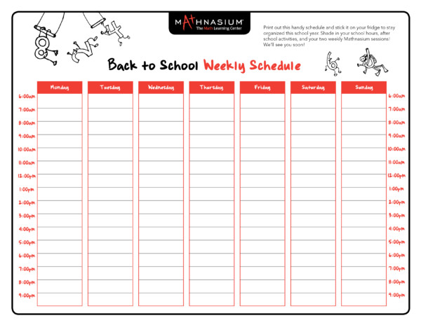 Weekly Calendar List : Back to school