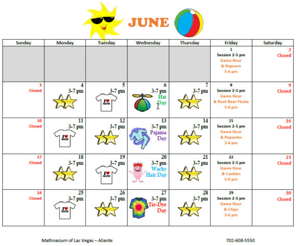 June Calendar Las Vegas : Mathnasium math summer camp las veags aliante