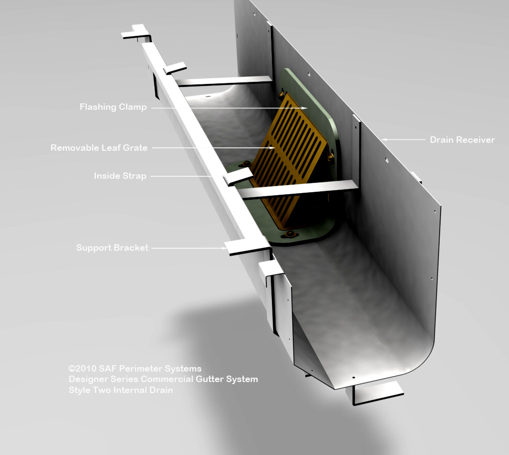 Concealed gutter drains saf southern aluminum finishing for Gutter drainage systems design
