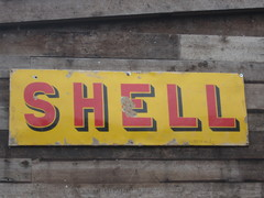 Vintage Enamel Shell Sign From Paris