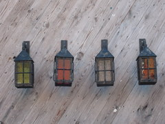 Coach Lamps With Coloured Glass