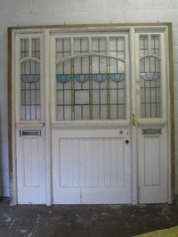 Front Entrance Door Way With Stained Glass Pannels