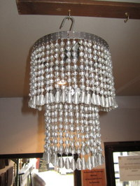 Vintage 1920's Two Teir Crystal Effect Chandelier
