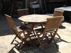 Teak Garden table & Four Matching Chairs
