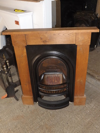 Cast iron victorian arch fire insert with oak surround