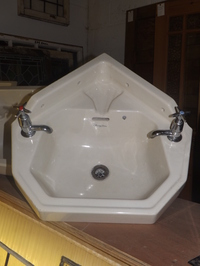 Armitage ware wall mounted corner wash basin with taps