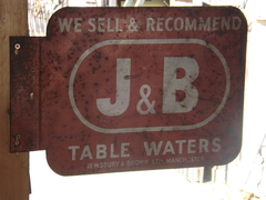 Vintage J&B table water sign (double sided)