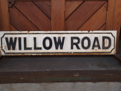 Cast iron Willow road sign