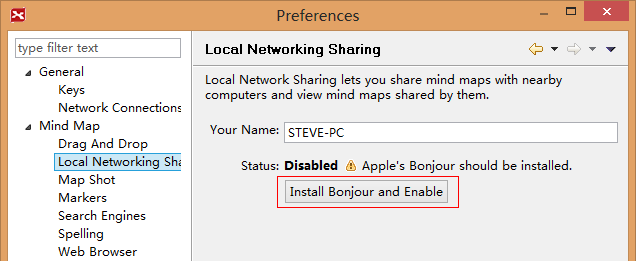 Install Bonjour and Enable