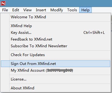 Sign out from XMind.net