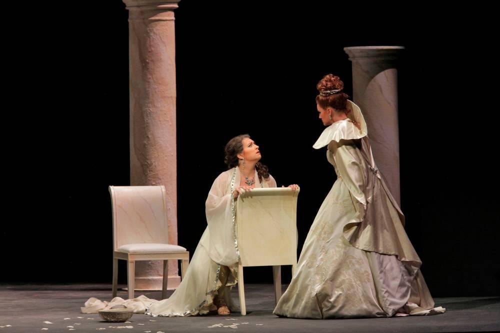 (pictured on left) Ilia in Idomeneo, Santa Fe Opera Apprentice Scenes, 2011 (photo by Ken Howard)