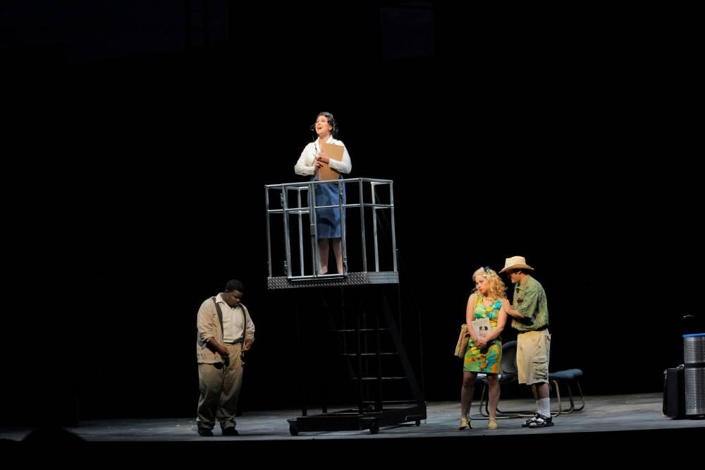(pictured center) The Controller in Flight, Santa Fe Opera Apprentice Scenes, 2011 (photo by Ken Howard)
