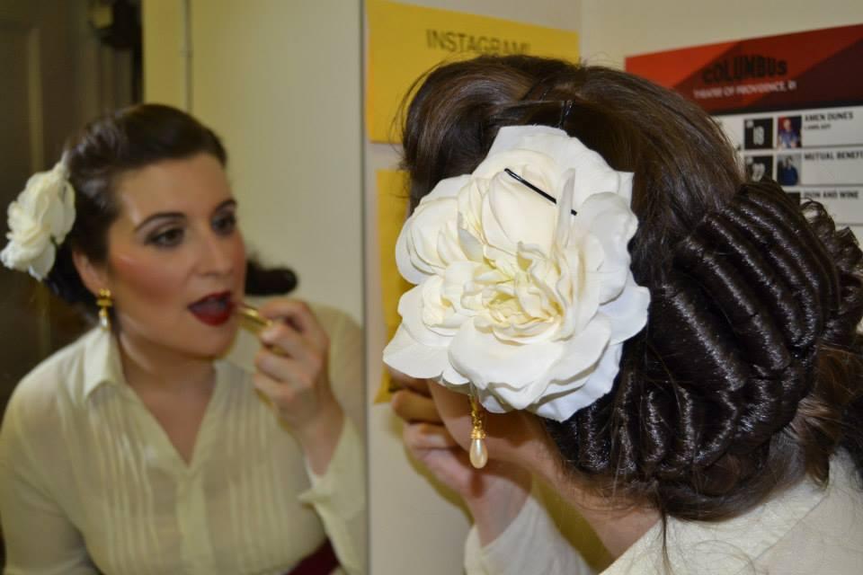 Backstage as Violetta in La Traviata, Opera Providence, 2014