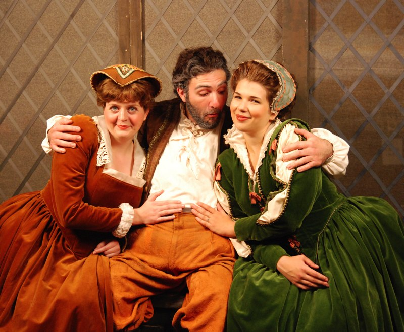 Heather as Frau Fluth in Die lustigen Weiber von Windsor with Thomas Florio and Erin Houghton Wells