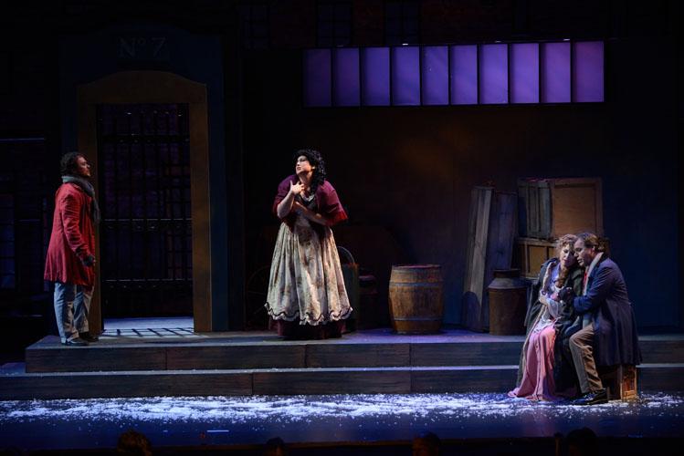 (pictured at center) Musetta in La Bohème, Green Mountain Opera Festival, 2012 (photo by Michael Slobodian)