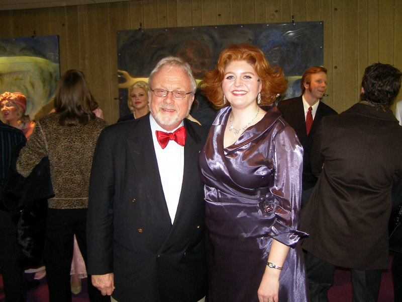 Heather with composer of A Wedding, William Bolcom