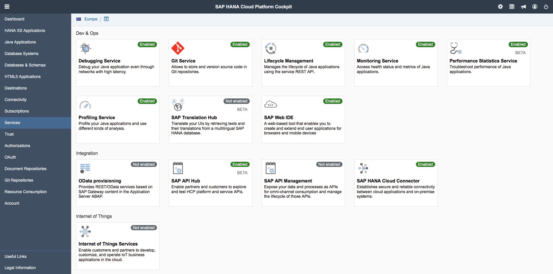 SAP HANA Cloud Platform cockpit