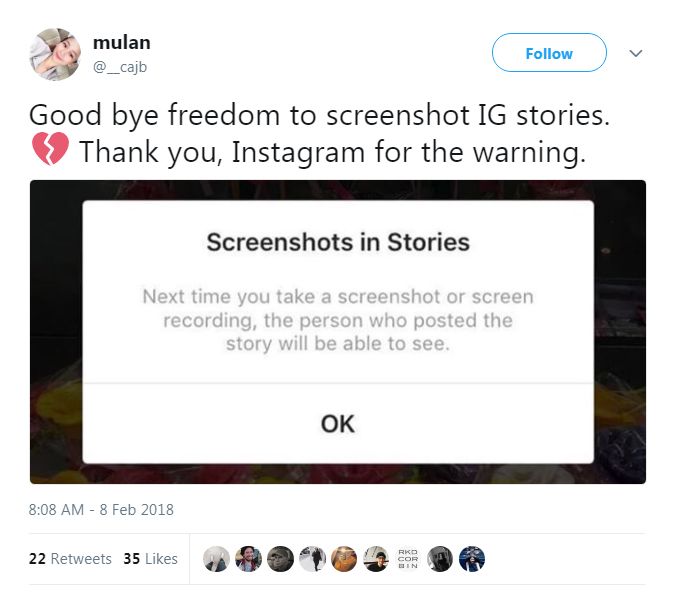 does instagram show if you screenshot a story