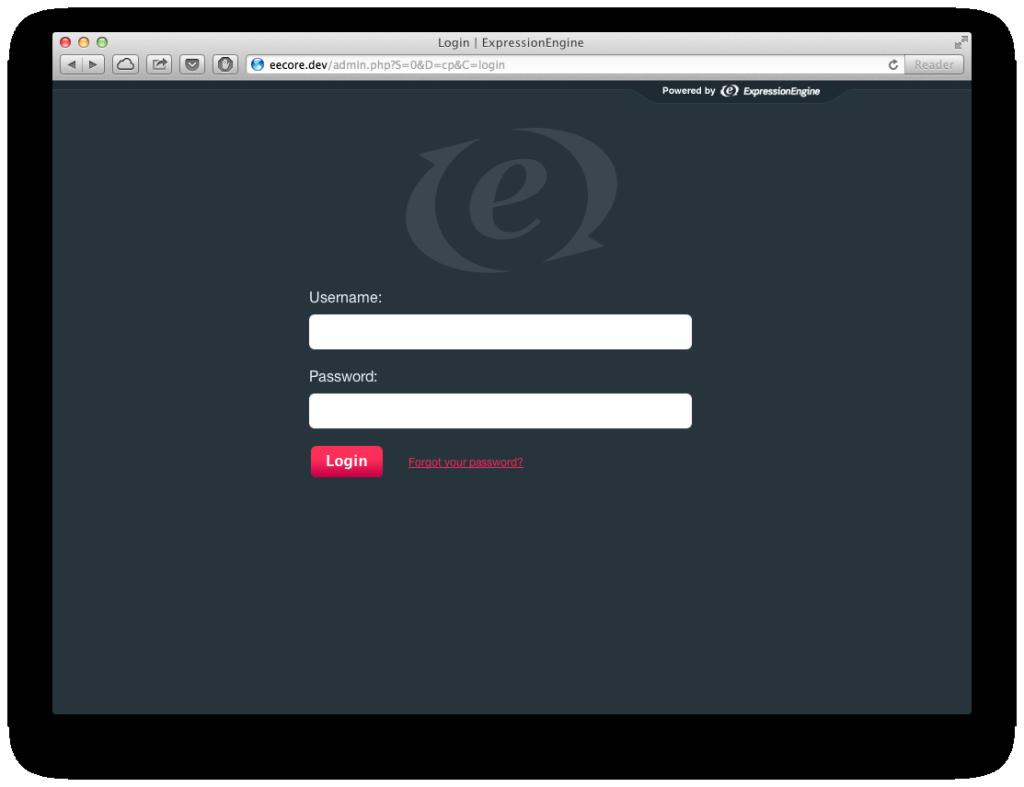 ExpressionEngine2 Core admin login