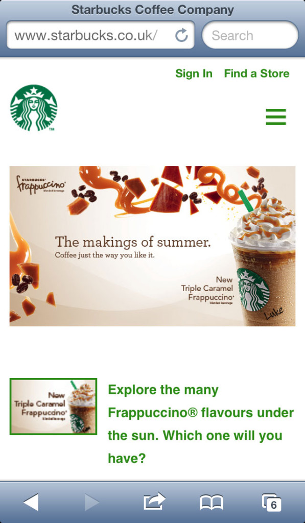 Starbucks Website's responsive navigation handler is in the right side