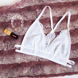 Strappy Lace Racerback Bralette - White