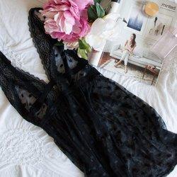 Polka Dot Lace Babydoll - Black