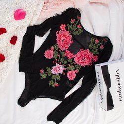 Embroidered Applique Long Sleeve Mesh Teddy