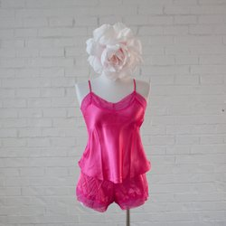 Satin Top & Shorts Lingerie Set - Bright Pink