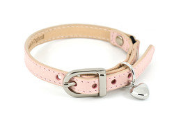 Leather Cat Collar with Nickel Heart Charm