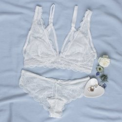 Lace & Mesh Layered Set - White