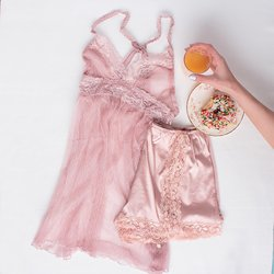 Sheer Lacy Babydoll - Blush