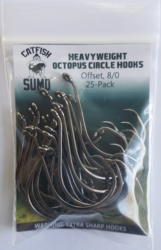 Heavyweight Circle Hooks, Octopus, Offset, 8/0, 25-Pack by Catfish Sumo