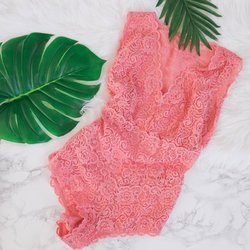 Lacy Teddy - Coral - Plus Size