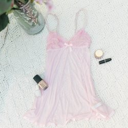 Lace & Mesh Babydoll - Light Pink - Plus Size