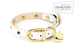 White Leather Cat Collar with Multi-Colour Crystal Elements